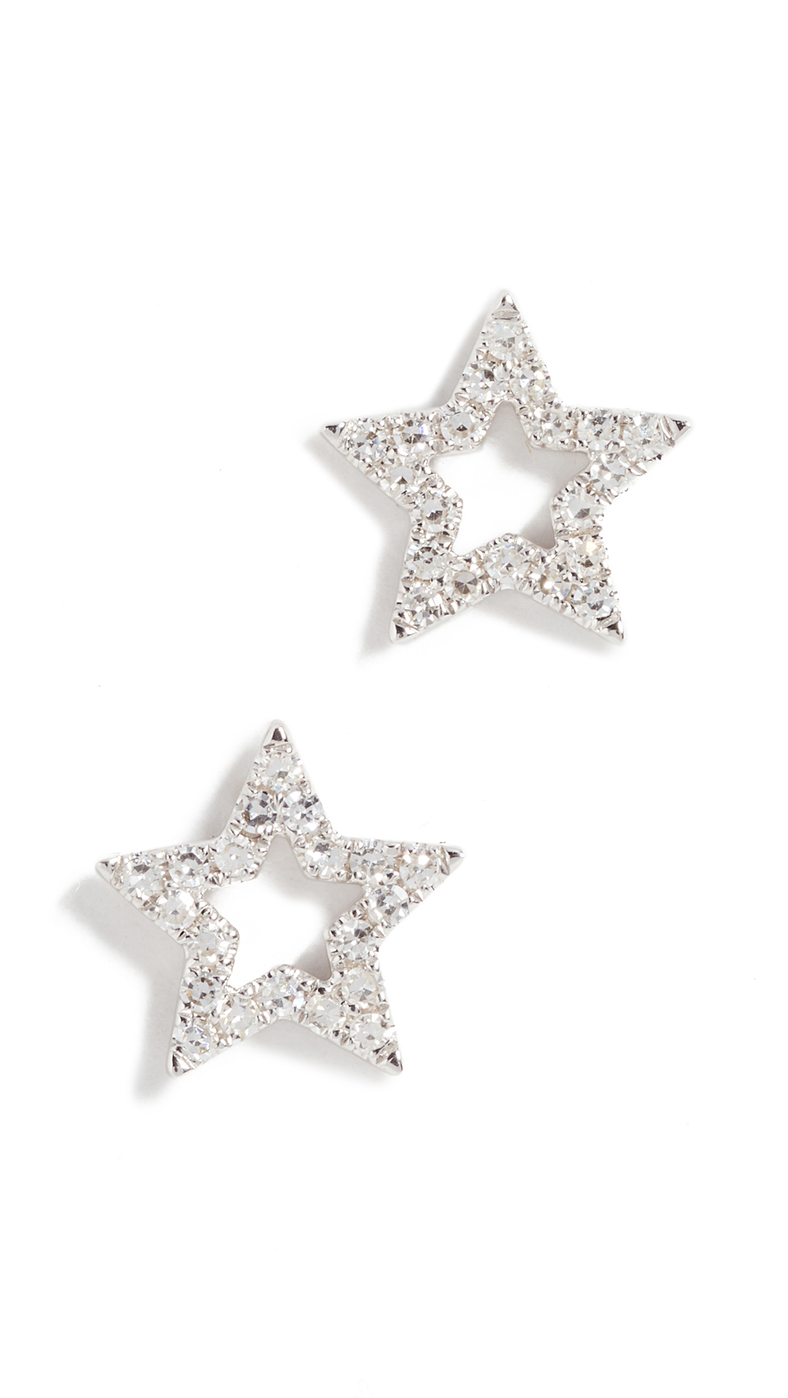 EF COLLECTION 14K Gold Diamond Open Star Stud Earrings in White Gold