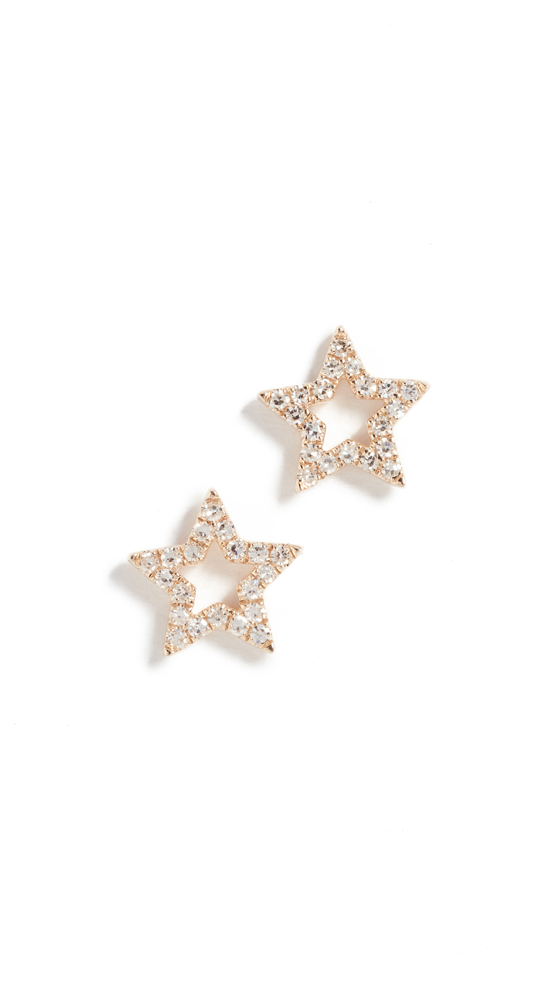EF Collection 14k Gold Diamond Open Star Stud Earrings iw15tjX