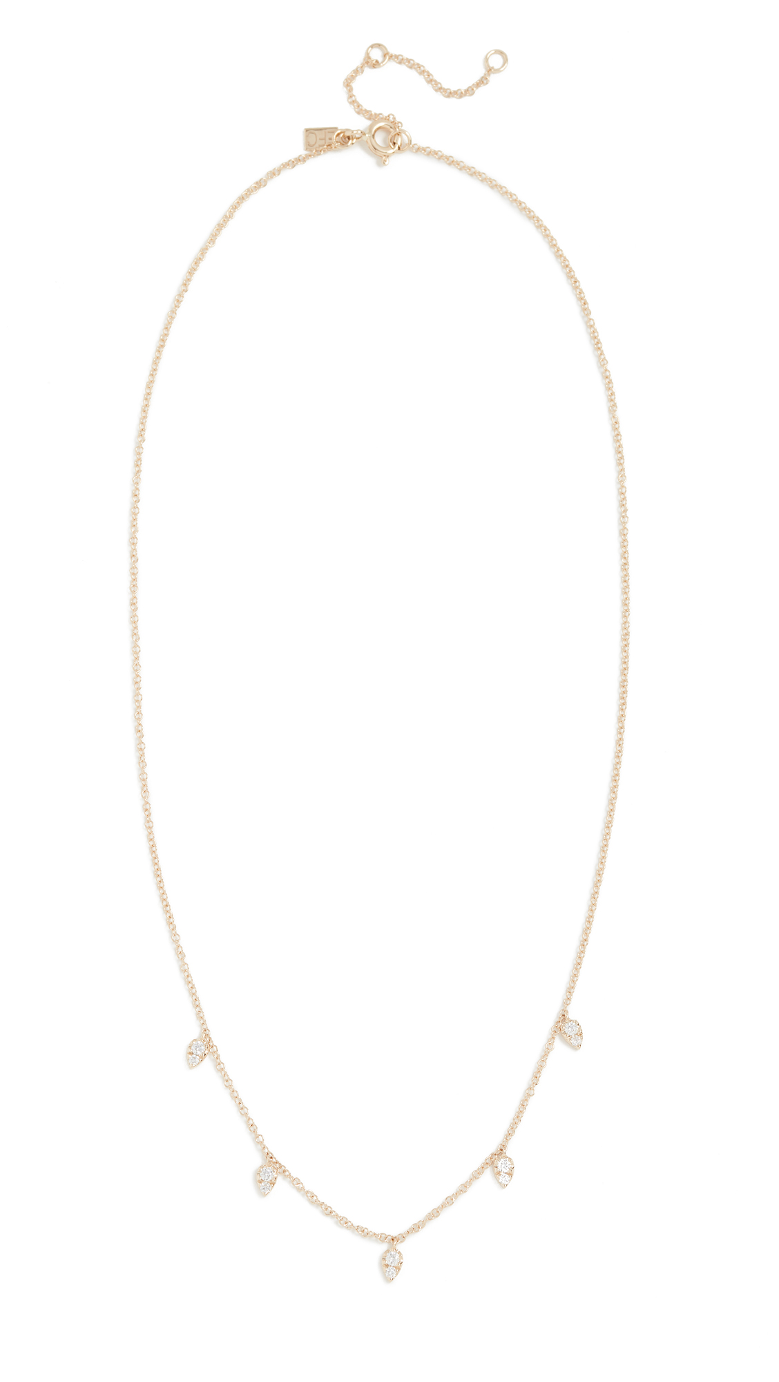 EF COLLECTION 14K Gold Diamond Multi Teardrop Necklace in Yellow Gold
