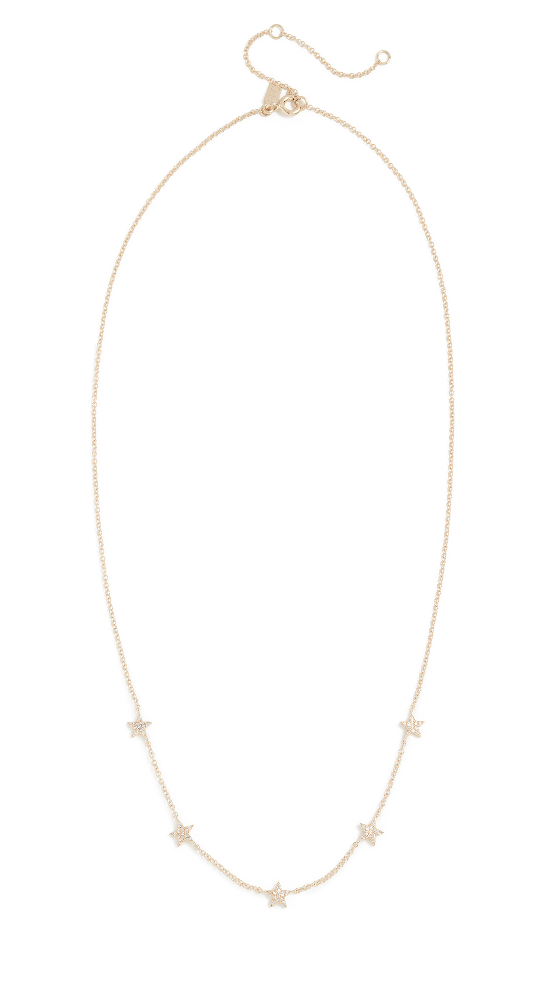 EF Collection 14k Gold Diamond 5 Mini Star Necklace lHz4vI0