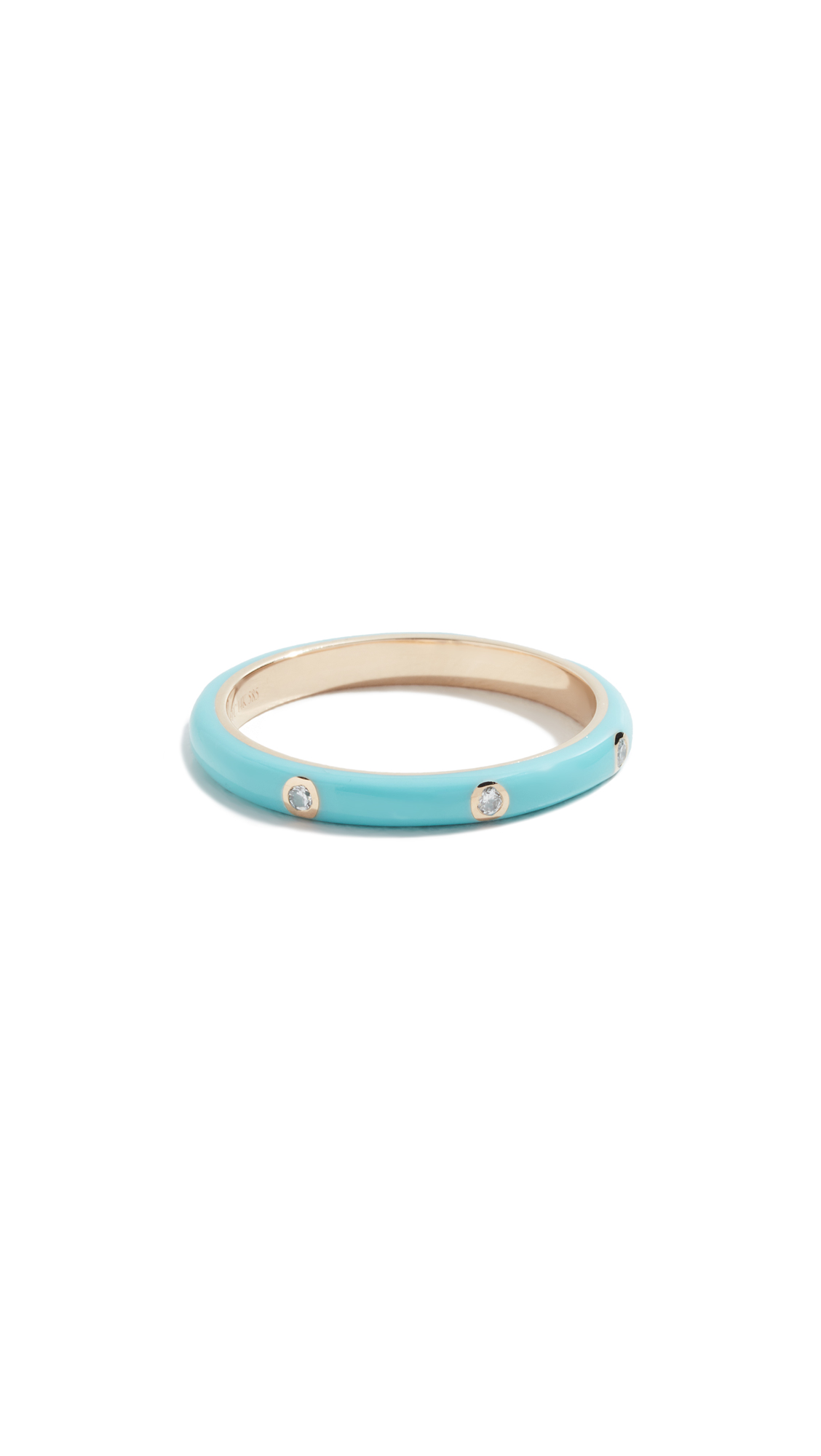 EF COLLECTION 14K Yellow Gold & Three Diamond Enamel Stack Ring in Turquoise/Gold