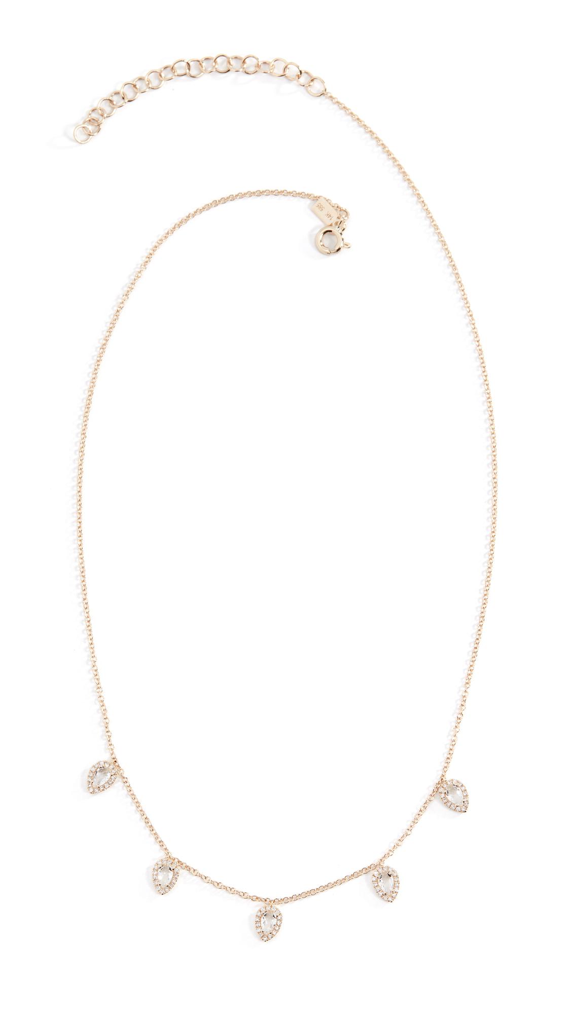 EF Collection 14k Diamond White Topaz Multi Teardrop Necklace - Yellow Gold/Diamond