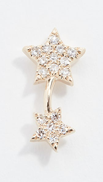 Ef Collection 14k Gold Diamond Double-star Single Earring (right) In Yellow Gold/diamond