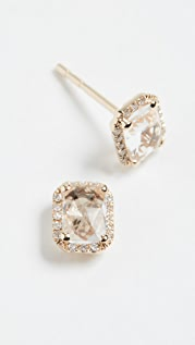 EF Collection 14k Diamond White Topaz Stud Earrings