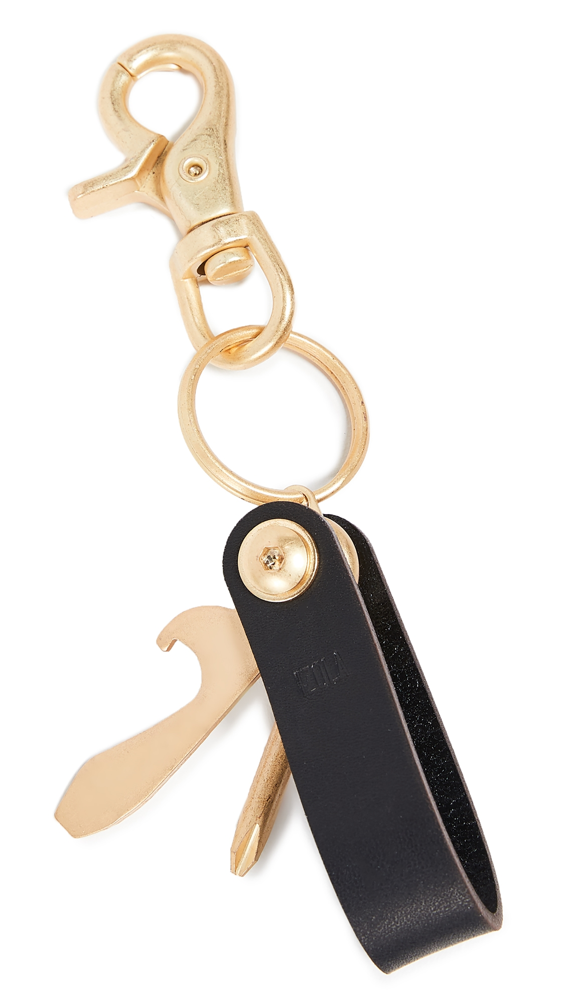 Leather Multi Tool Keychain in Brass/Black from EAST DANE