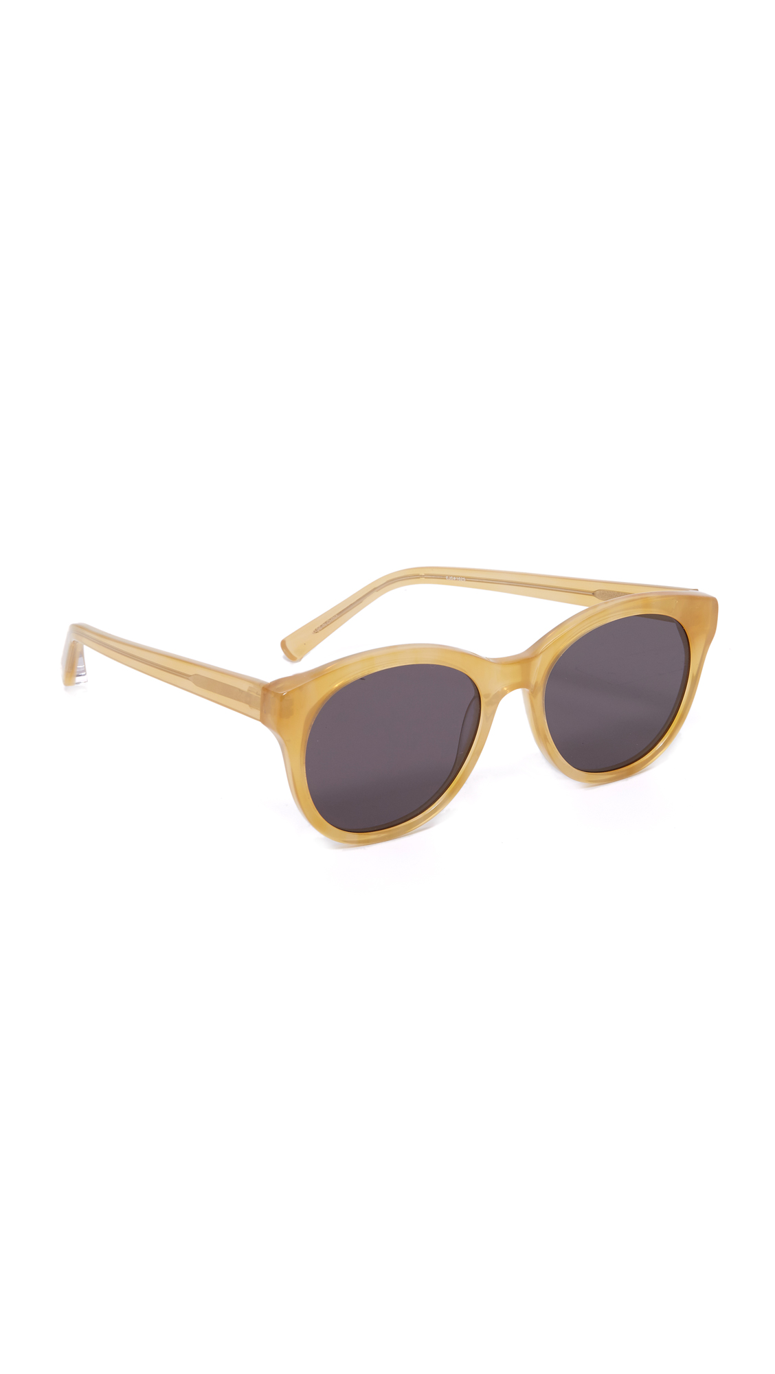 Flat lens Elizabeth and James sunglasses with glossy frames. Soft case and cleaning cloth included. Round frame. Non polarized lenses. Imported, China. Measurements Width: 5.5in / 14cm Height: 2.25in / 5.5cm Lens Width: 54mm A manufacturer's warranty for