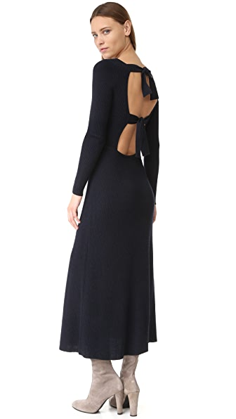 Elizabeth and James Caden Tie Back Ribbed Dress - Navy