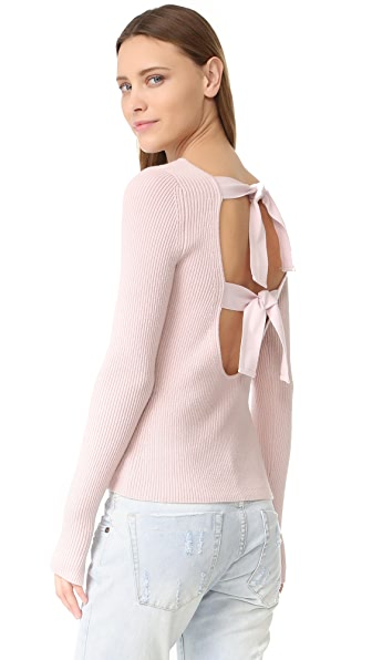 Elizabeth and James Fay Tie Back Long Sleeve Sweater - Pale Pink