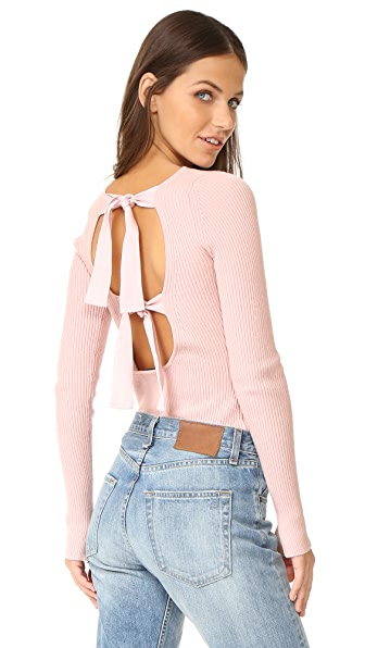 Elizabeth and James Fay Tie Back Long Sleeve Sweater In Pale Pink