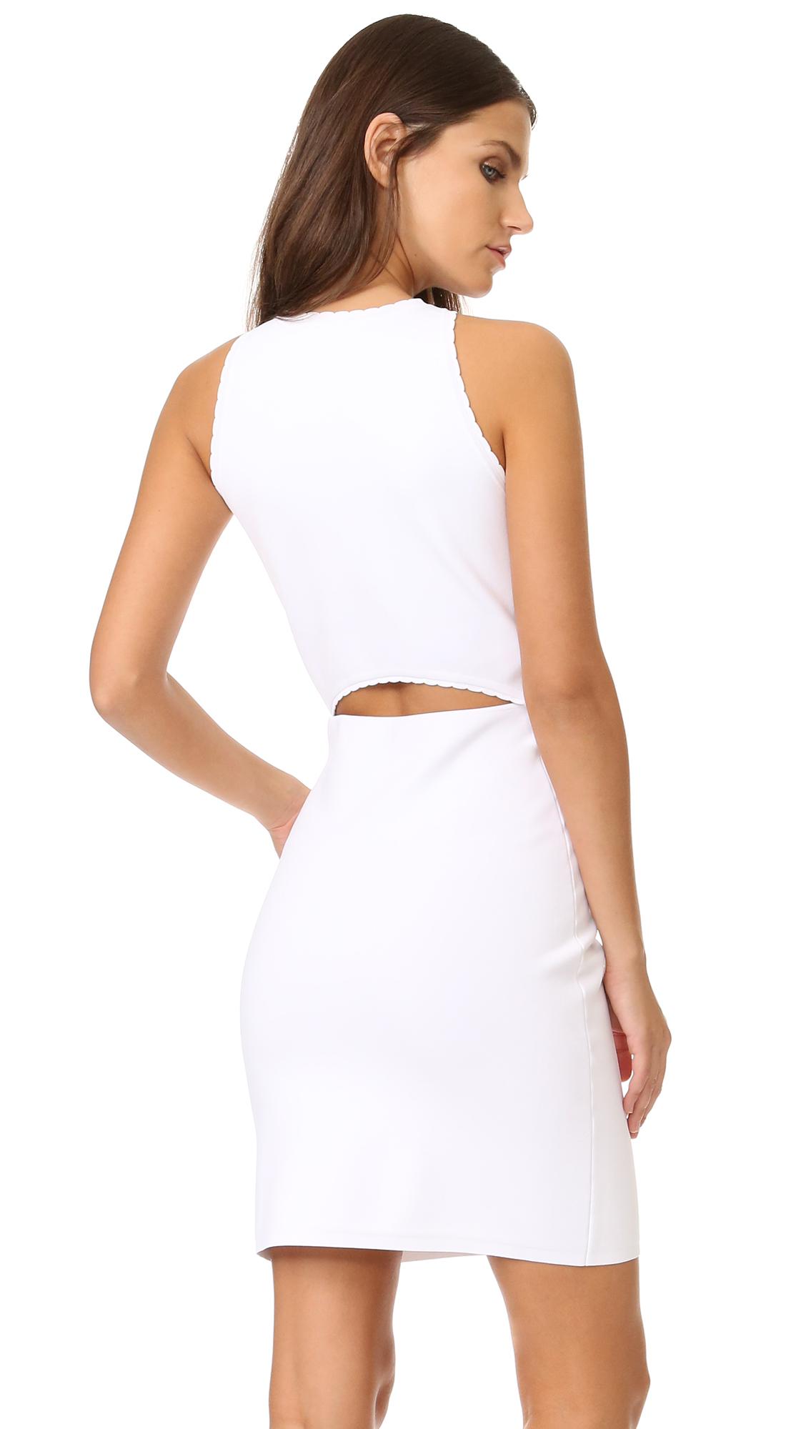 Elizabeth and James Capri Split Shoulder Picot Dress - White