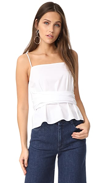 Elizabeth and James Montgomery Tie Waist Top In White
