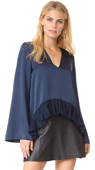 Elizabeth and James Heath Ruffle Hem Top - Indigo