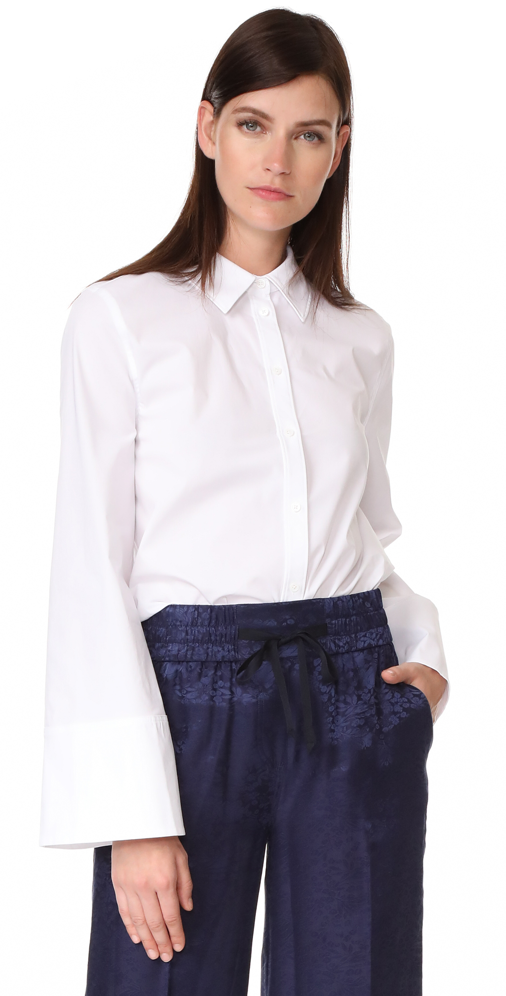 Norman Button Down Wide Sleeve Top Elizabeth and James