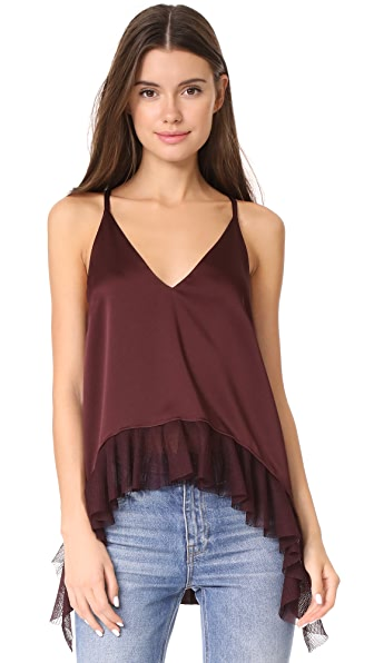 Elizabeth and James Manette Ruffled Tank In Boysenberry