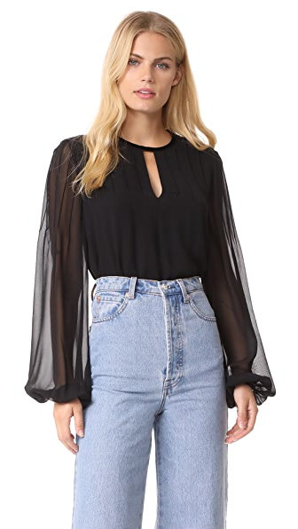 Elizabeth and James Dante Pintuck Blouse - Black