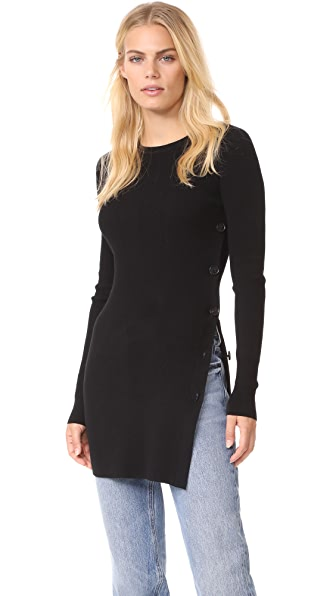 Elizabeth and James Elmira Button Side Slit Tunic In Black