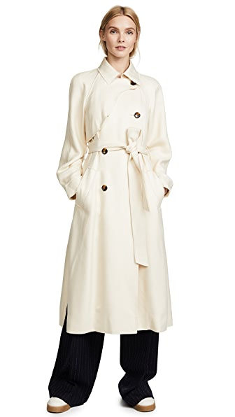 Elizabeth and James Dakota Viscose Pique Draped Trench Coat In Creme