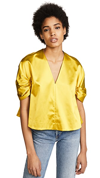 Elizabeth and James Mae Duchess Satin Cropped Top In Pollen