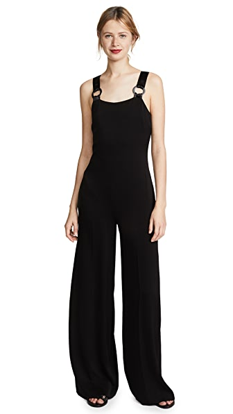 Loordes Embellished Satin-Trimmed Cady Jumpsuit in Black