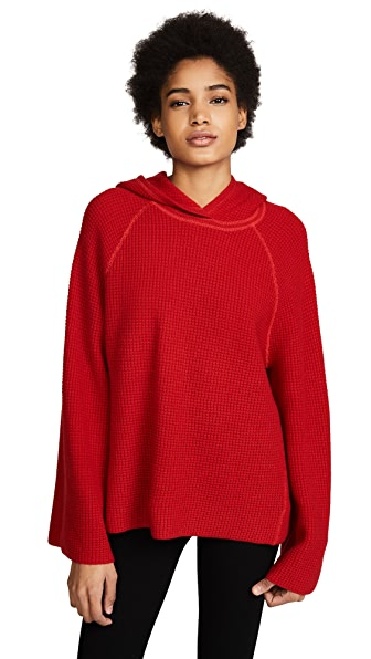 Elizabeth and James Tristan Hooded Waffle Stitch Sweater In Bright Red
