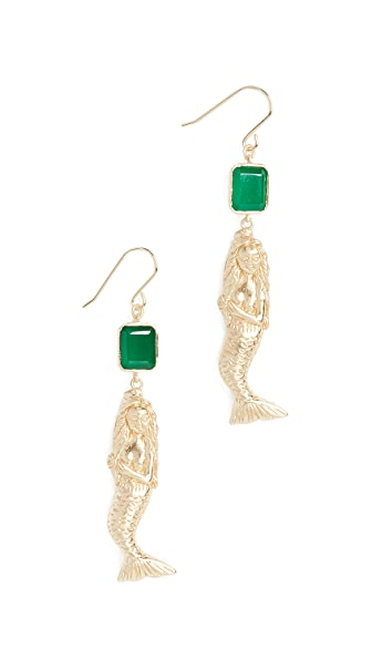 Elizabeth and James Mallory Mermaid Earrings In Gold/Green