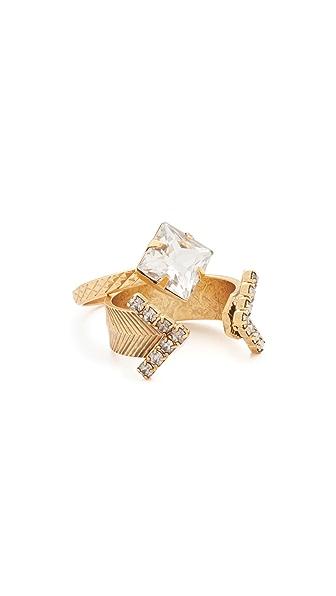 Elizabeth Cole Crystal Ring - Golden Crystal
