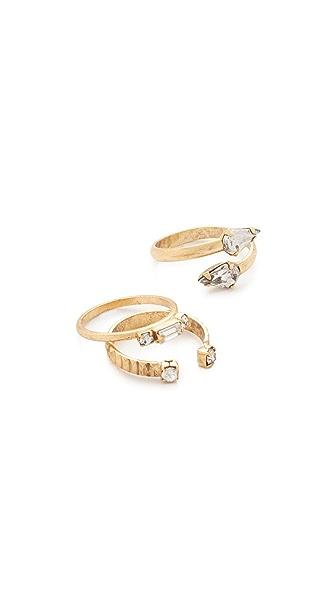 Elizabeth Cole Wraparound Ring Set - Golden Crystal
