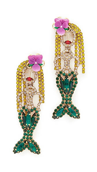 Elizabeth Cole Mermaid Earrings - Green