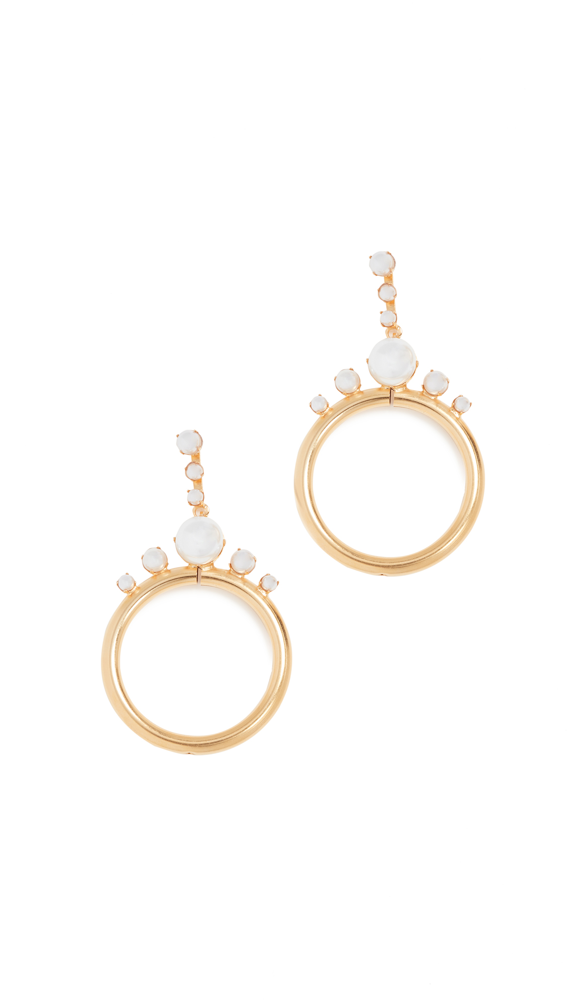Elizabeth Cole Imitation Pearl Hoop Earrings