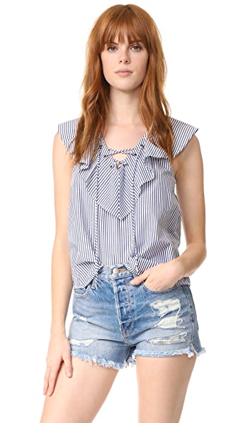 Ella Moss Azur Stripe Ruffle Blouse - Navy Stripe