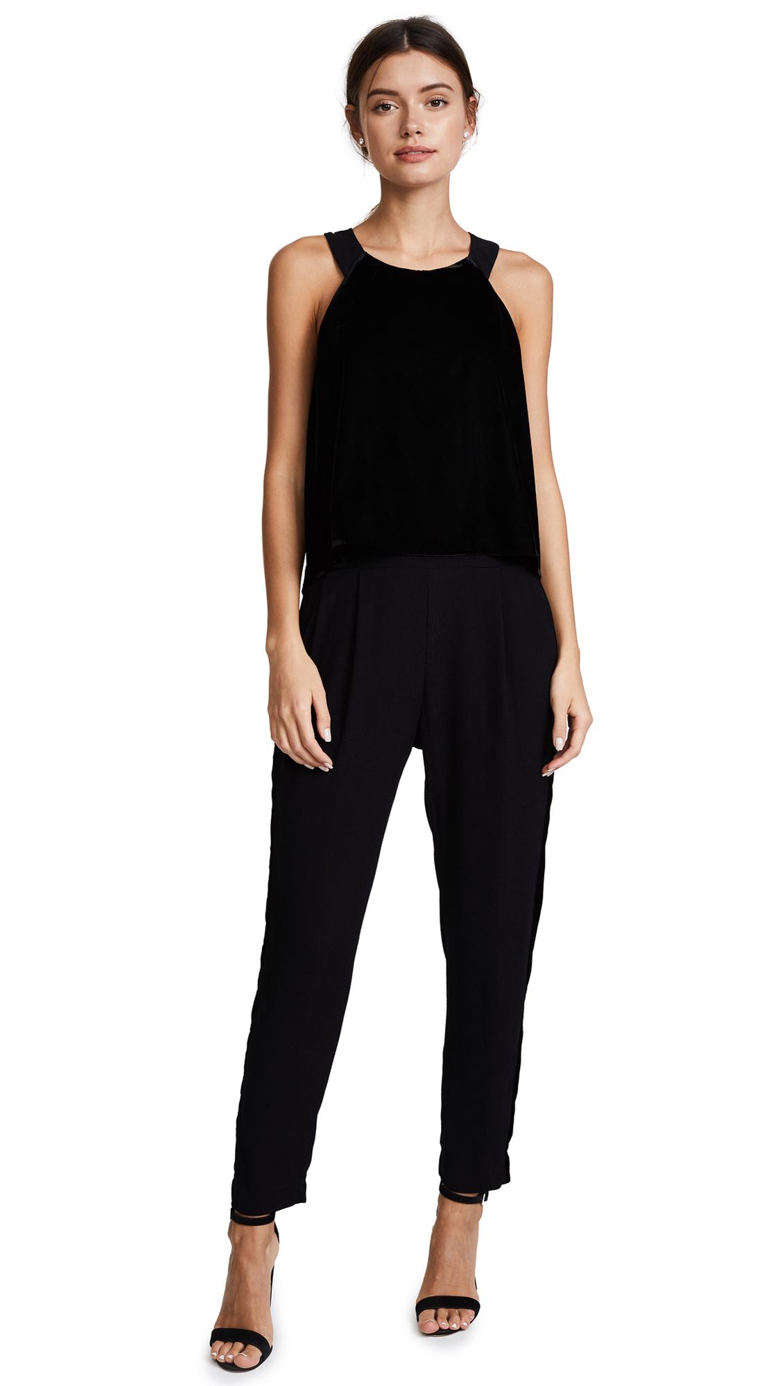 Ella Moss Duchess Velvet Jumpsuit - Black