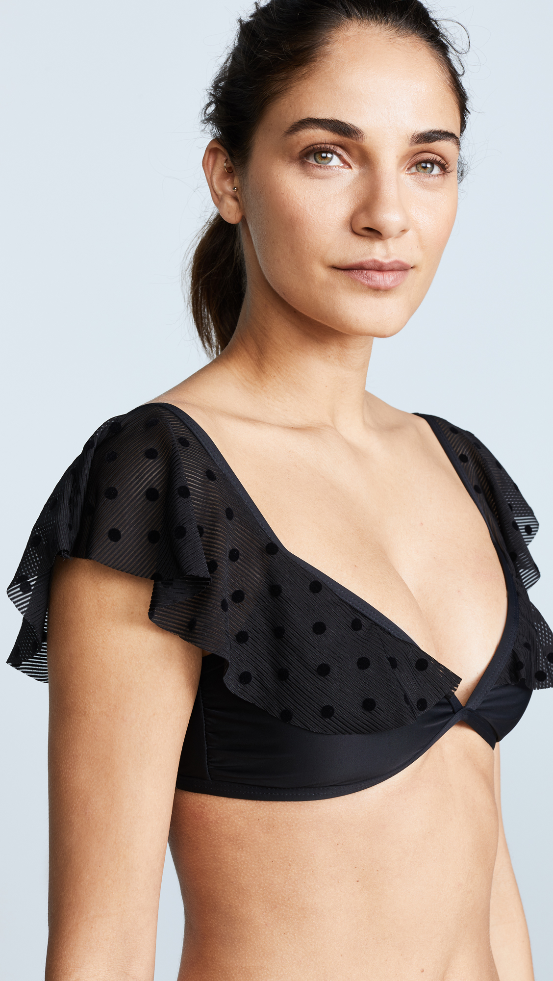 7cc0d7fd73058 Ella Moss Sheer Dot Off Shoulder Bikini Top