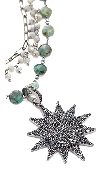 Ela Rae Three Layer Emerald Coin Necklace