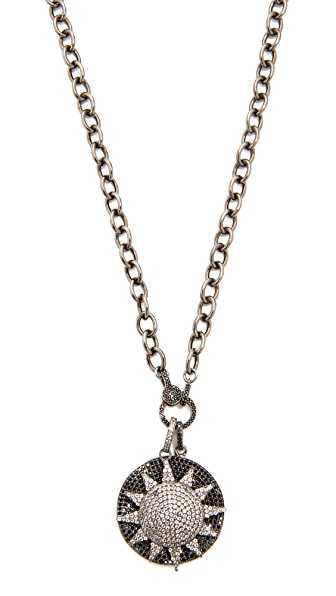 Ela Rae Sun Disc Necklace - Rhodium
