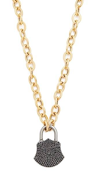 Ela Rae Spinel Lock Charm Necklace - Black