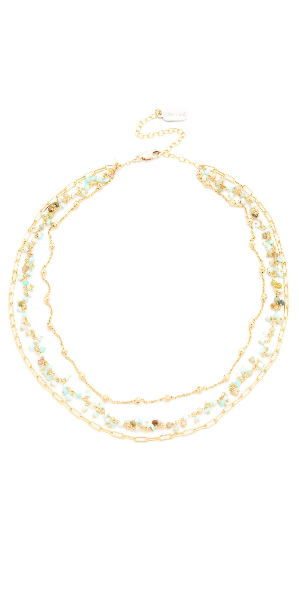 Three Layer Collar Peruvian Opal Necklace Ela Rae