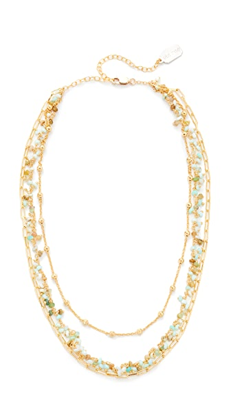 Ela Rae Three Layer Collar Peruvian Opal Necklace - Gold/Opal