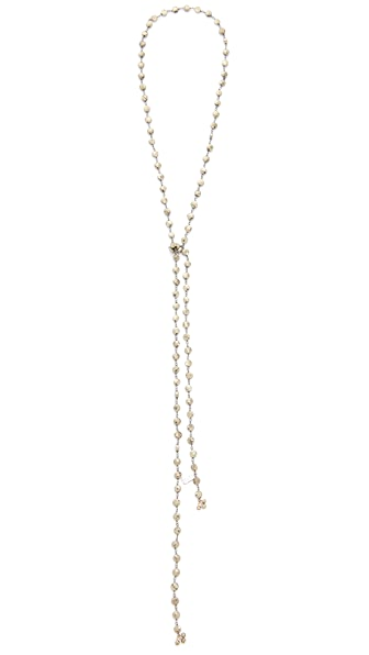 Ela Rae Pyrite Coin Lariat Necklace - Pyrite