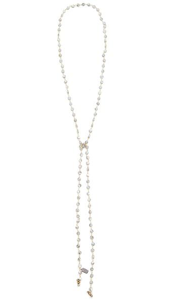 Ela Rae Labradorite Coin Lariat Necklace - Labradorite