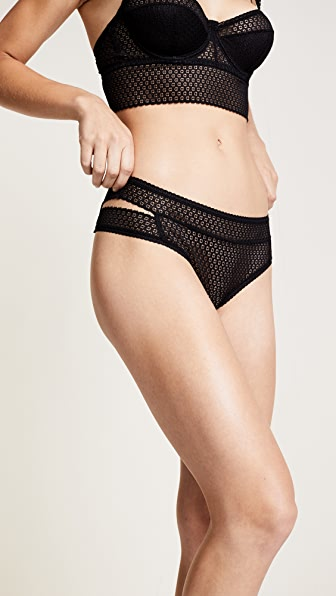 Else Lingerie Pointelle Cutout Thong - Black