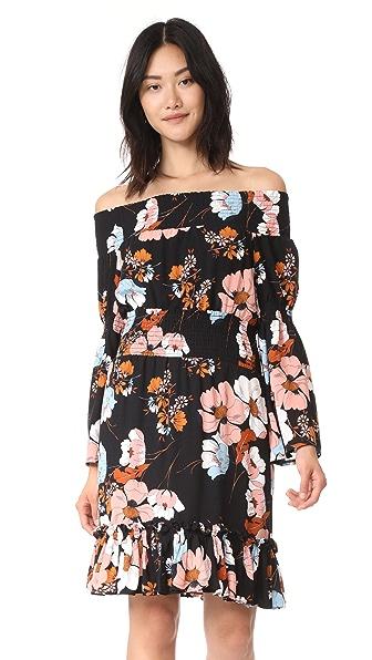 Ella Moon Ruched Off The Shoulder Dress In Dark Bold Floral