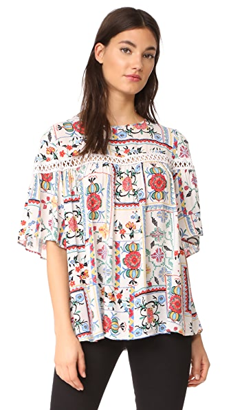 Ella Moon Ladder Swing Blouse In Embroidery Patchwork Print