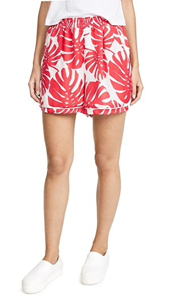 Ella Moon Piped Shorts In Coral Palm Print