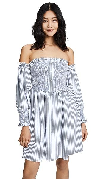 Ella Moon Poet Dress In Navy Stripe