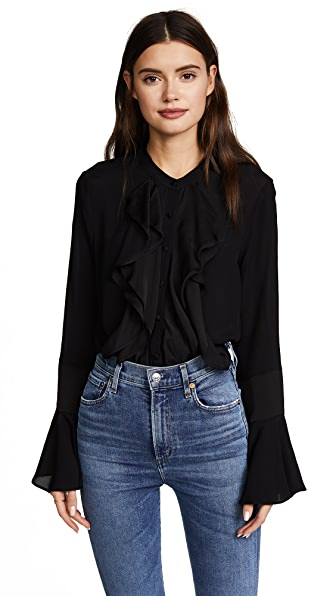 Ella Moon Ruffled Button Down Blouse In Black Onyx