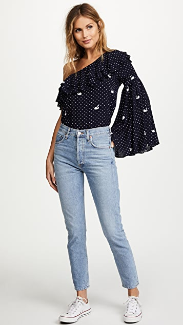 Ella Moon Polka Dot One Shoulder Blouse