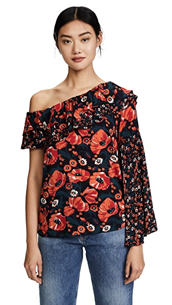Ella Moon Floral One Shoulder Blouse In Poppy Mixed Floral
