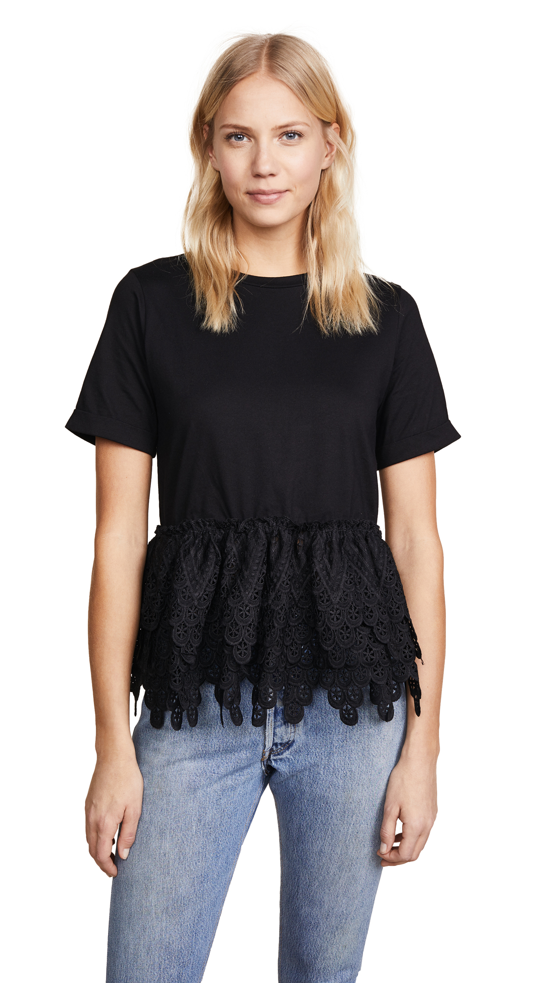 endless rose Lace Tee - Black