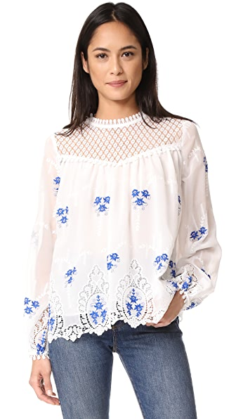 endless rose Flower Embroidered Top In Off White Combo