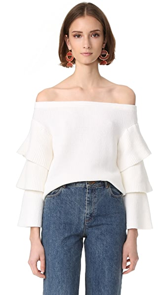 endless rose Off Shoulder Tiered Sleeve Top - Ivory